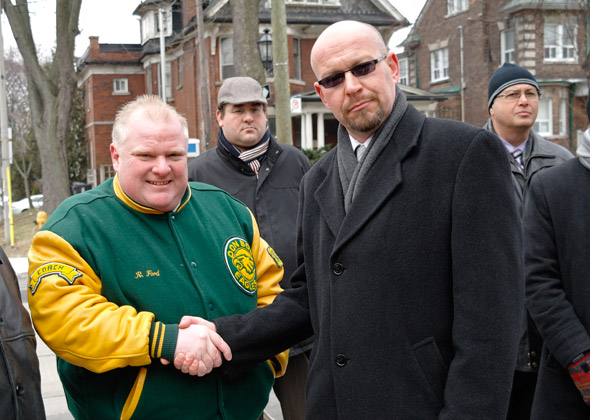 Rob Ford and Tony Cauch on Roncesvalles Avenue.