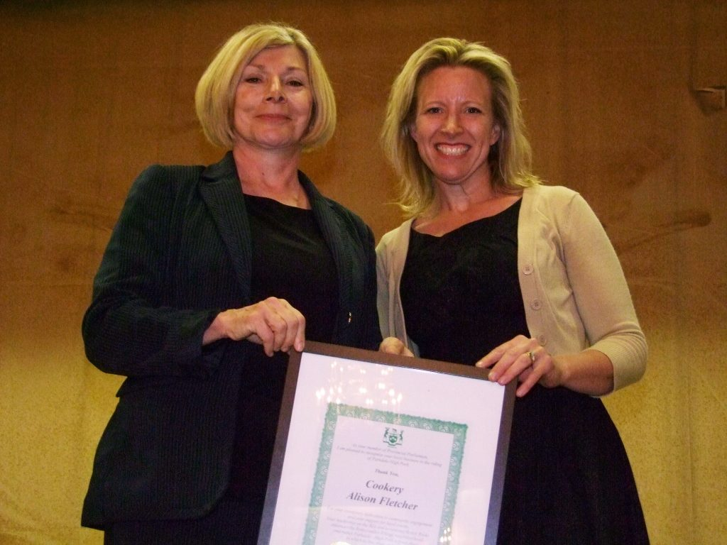 MPP Cheri DiNovo presents Alison Fletcher with New Business Community Award for Cookery - Photo by Shane Jeffery