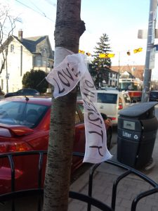 "White ribbon tied to around a street tree displaying the words ""Love"" and ""Diversity."""