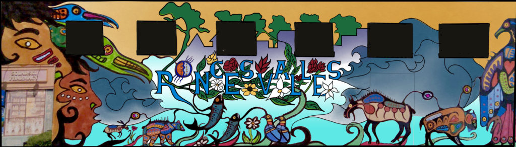 The word Roncesvalles is written in staggered letters intertwined with floral elements.. It sits above images of indigenous animal spirits.