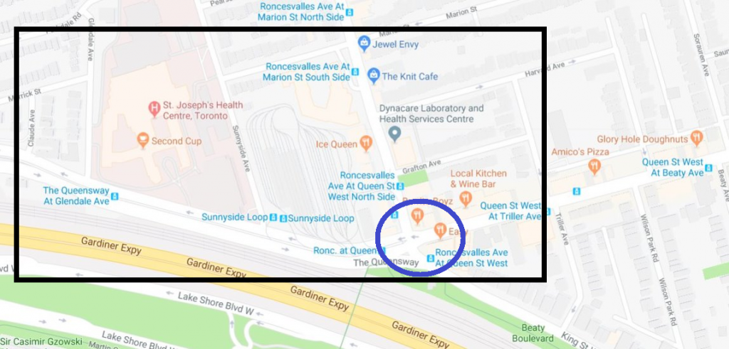Map showing location of construction planned for 2019 on and near the intersection or Roncesvalles Ave., Queen Street West, King Street West and The Queensway.