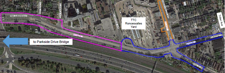 Aerial view of planned construction Zones at south end of Roncesvalles and the Queensway.