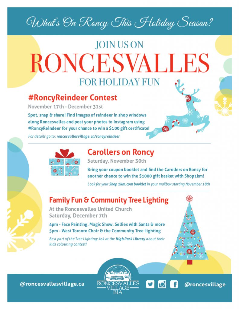 Poster describing holiday events shows an illustration of a reindeer, gift and decorated tree.
