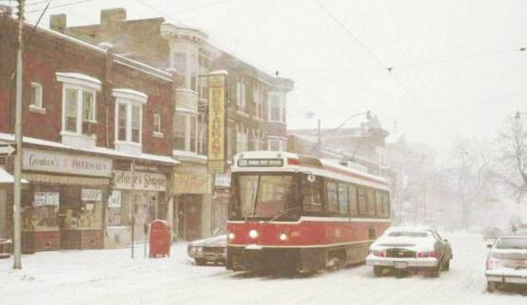 streetcar in snowstorm on Roncesvalles Avenue